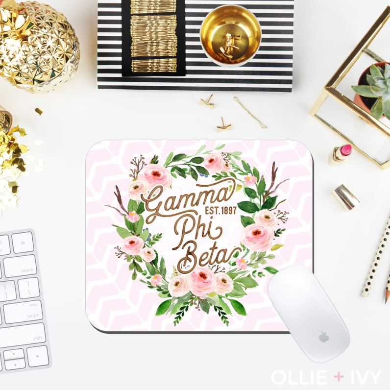 Adeline's Pink Floral Wreath | Mouse Pad