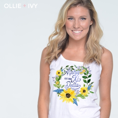 Cora Bollinger Block Sunflower Wreath Shirt